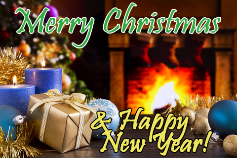 "A Christmas scene with a fireplace in a blurred background and the words ""Mary Christmas and Happy New Year!"" superimposed on it"