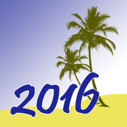 Palm trees on a beach with the year 2016 in large type in front of them