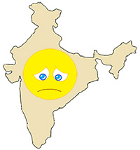 An outline of the Indian subcontinent with a sad face on it