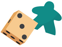 An illustration of a six-sided pipped die and a green meeple