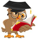 A cartoon owl wearing a graduation cap and round Harry Potter-style classes, and reading from a red book