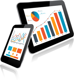 Photo of two tablets with various graphs on them